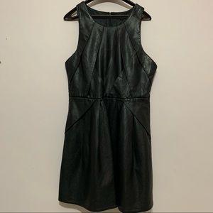 TOPSHOP black faux leather skater dress size 8